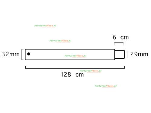 buis lengte: 128 cm met verjonging (32 mm)