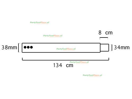 buis lengte: 1.34 m met verjonging (38 mm)