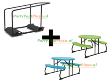combi trolley lifetime multifunctioneel + 9x kinder picnic tafel