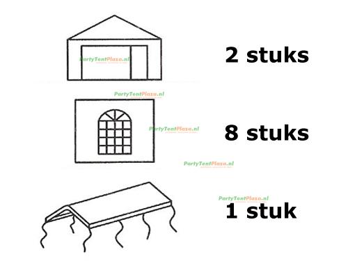 complete set dak en zijwanden partytent 8 x 4 polyester