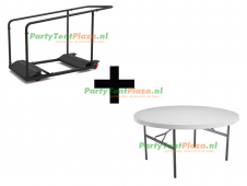 combi trolley Lifetime multifunctioneel + 10x buffettafel Heavy Duty rond
