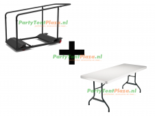 combi trolley Lifetime multifunctioneel + 11x buffettafel Heavy Duty180 cm