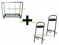 combi trolley + 30x barkruk stapelbaar